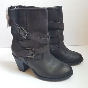 New Black Buckle Moto Ankle Boots Size 6